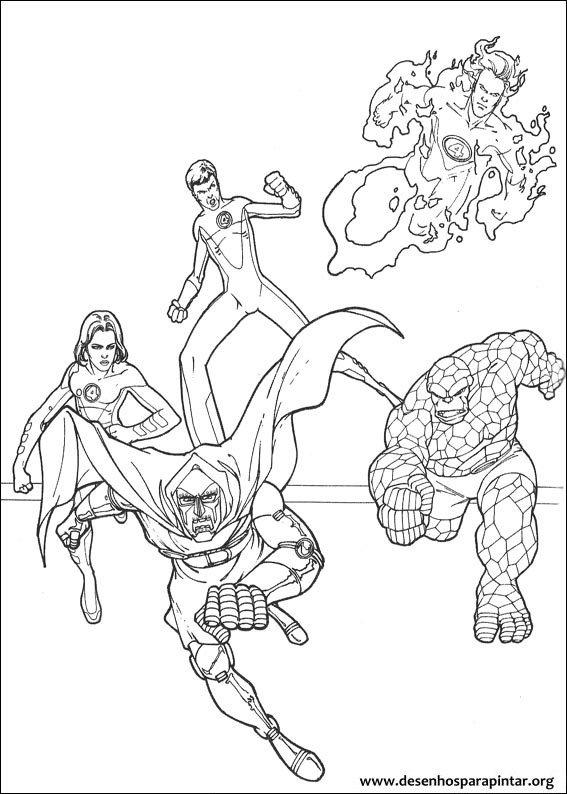 O quarteto fant stico desenhos para colorir imprimir e for Fantastic four coloring pages
